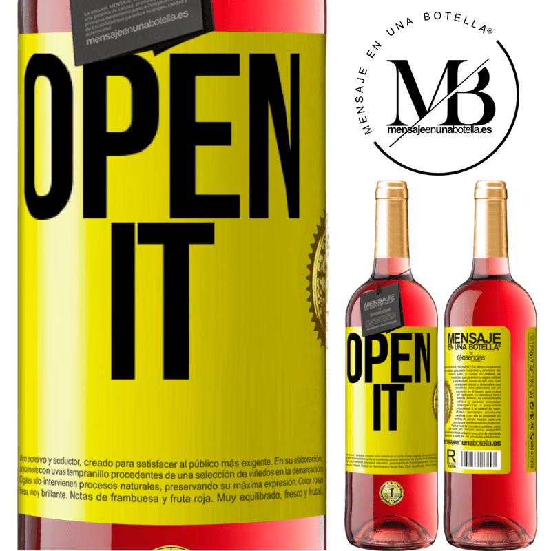 24,95 € Free Shipping | Rosé Wine ROSÉ Edition Open it Yellow Label. Customizable label Young wine Harvest 2020 Tempranillo