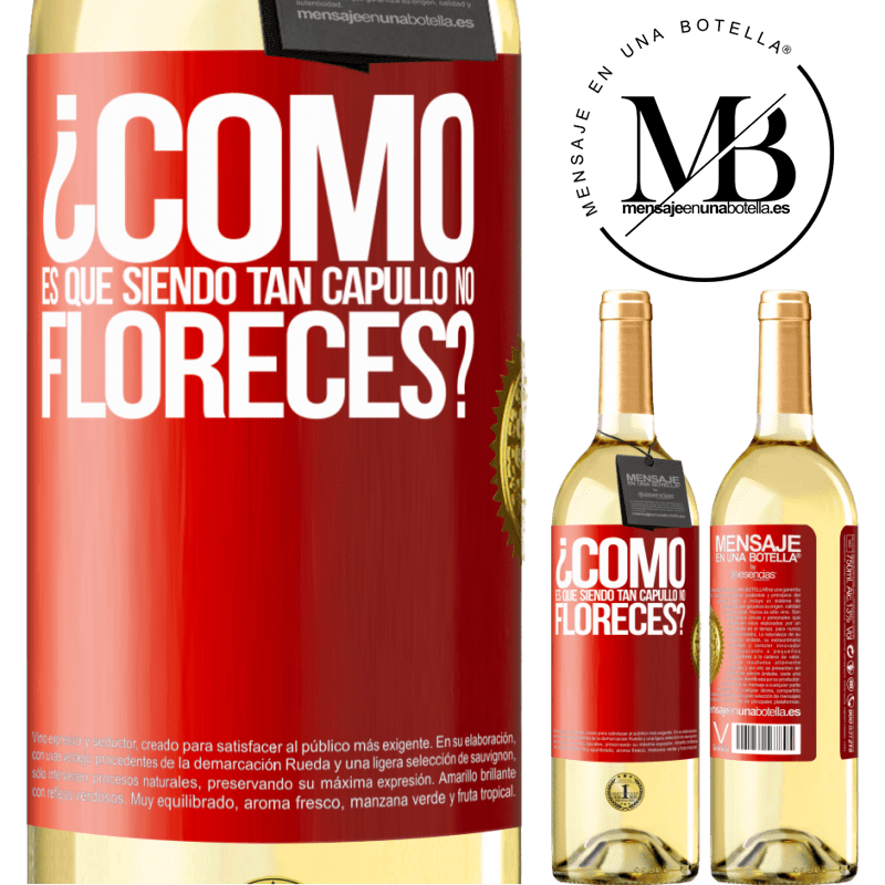 24,95 € Envío gratis | Vino Blanco Edición WHITE ¿Cómo es que siendo tan capullo no floreces? Etiqueta Roja. Etiqueta personalizable Vino joven Cosecha 2020 Verdejo