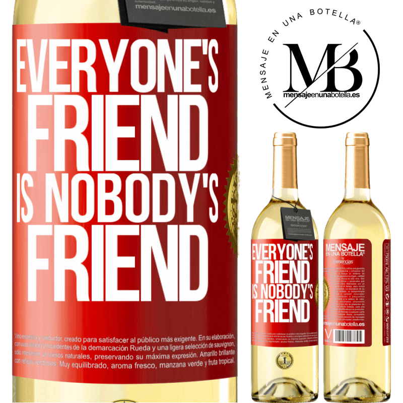 24,95 € Free Shipping | White Wine WHITE Edition Everyone's friend is nobody's friend Red Label. Customizable label Young wine Harvest 2020 Verdejo