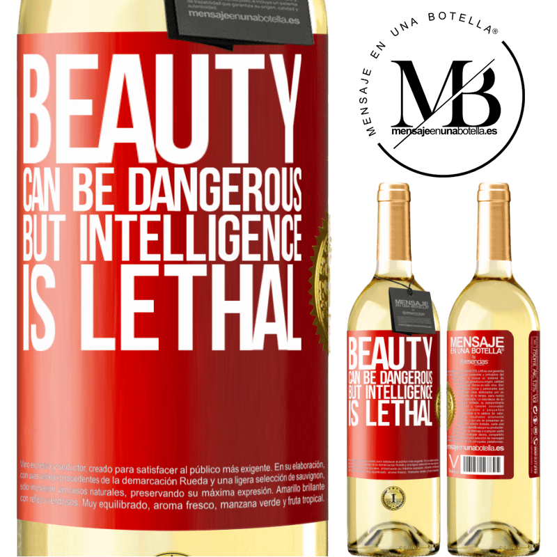 24,95 € Free Shipping   White Wine WHITE Edition Beauty can be dangerous, but intelligence is lethal Red Label. Customizable label Young wine Harvest 2020 Verdejo