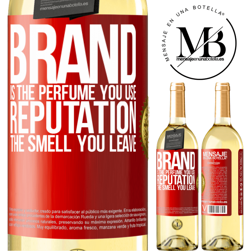 24,95 € Free Shipping   White Wine WHITE Edition Brand is the perfume you use. Reputation, the smell you leave Red Label. Customizable label Young wine Harvest 2020 Verdejo