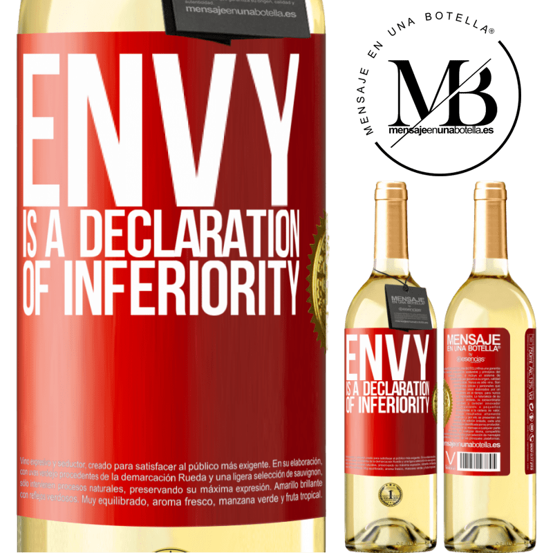 24,95 € Free Shipping | White Wine WHITE Edition Envy is a declaration of inferiority Red Label. Customizable label Young wine Harvest 2020 Verdejo