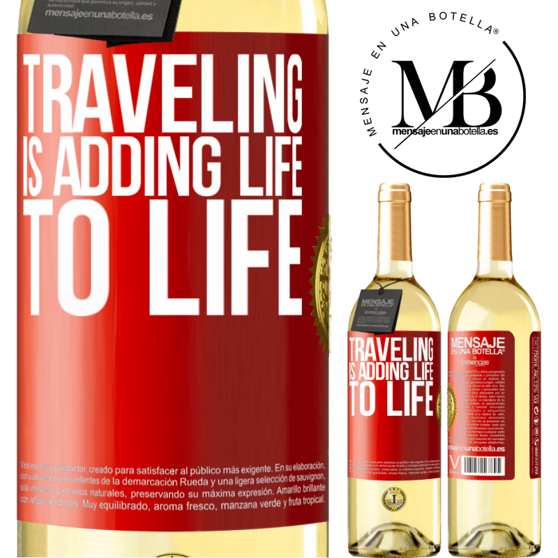 24,95 € Free Shipping | White Wine WHITE Edition Traveling is adding life to life Red Label. Customizable label Young wine Harvest 2020 Verdejo