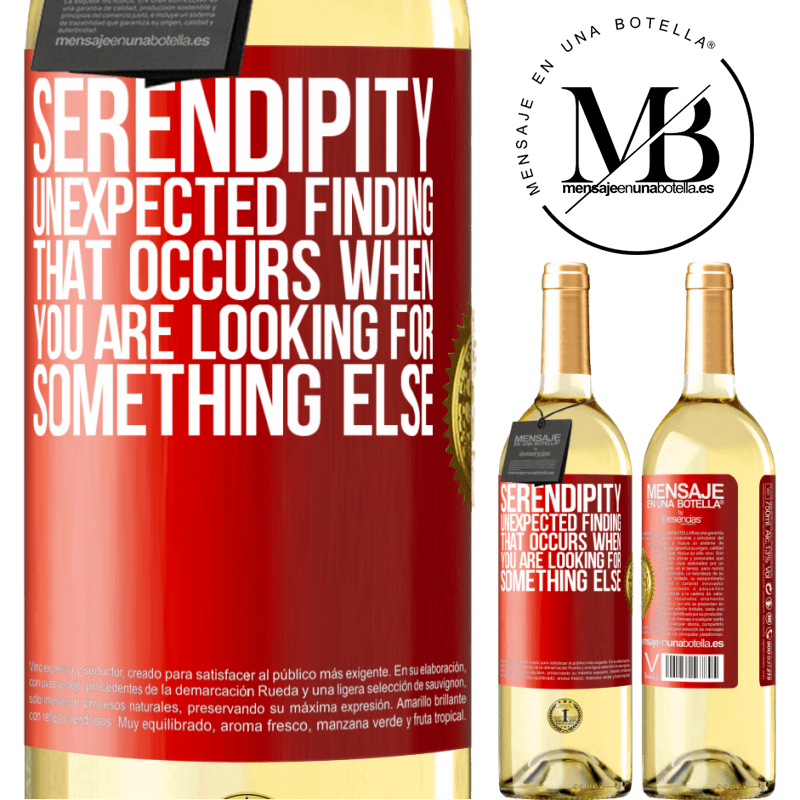 24,95 € Free Shipping   White Wine WHITE Edition Serendipity Unexpected finding that occurs when you are looking for something else Red Label. Customizable label Young wine Harvest 2020 Verdejo