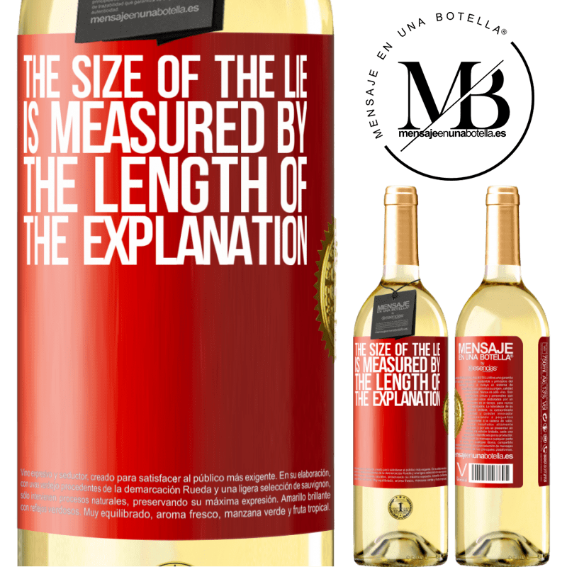 24,95 € Free Shipping | White Wine WHITE Edition The size of the lie is measured by the length of the explanation Red Label. Customizable label Young wine Harvest 2020 Verdejo