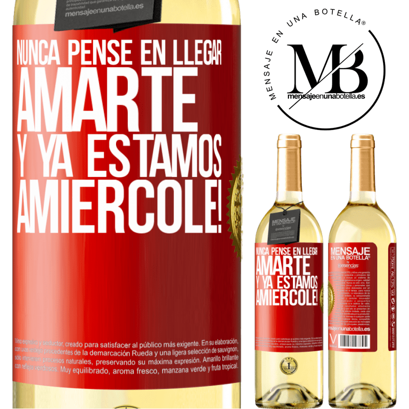 24,95 € Free Shipping | White Wine WHITE Edition I never thought of getting to love you. And we are already Amiércole! Red Label. Customizable label Young wine Harvest 2020 Verdejo
