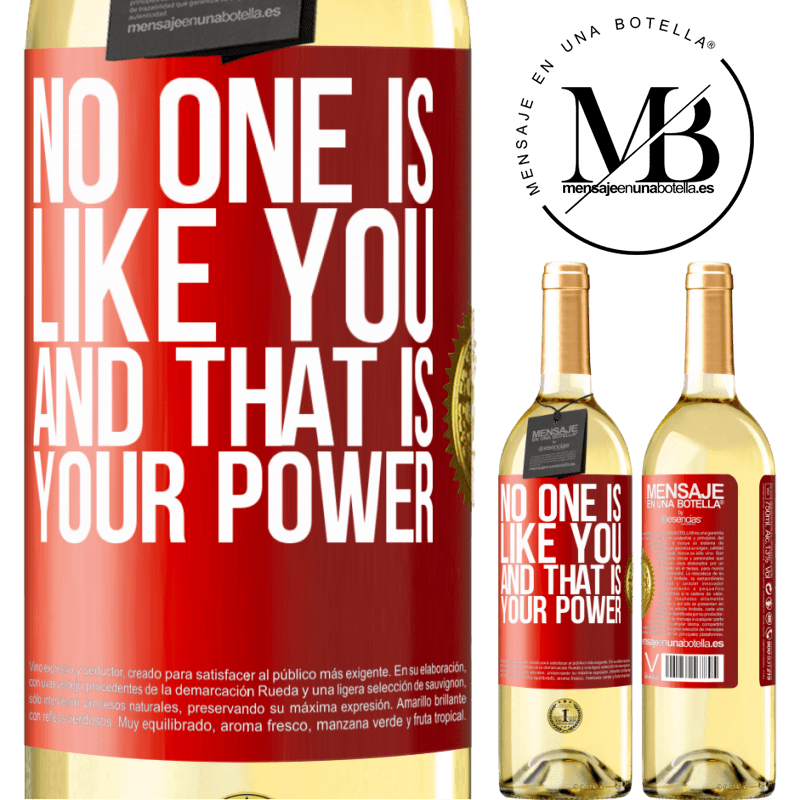 24,95 € Free Shipping | White Wine WHITE Edition No one is like you, and that is your power Red Label. Customizable label Young wine Harvest 2020 Verdejo