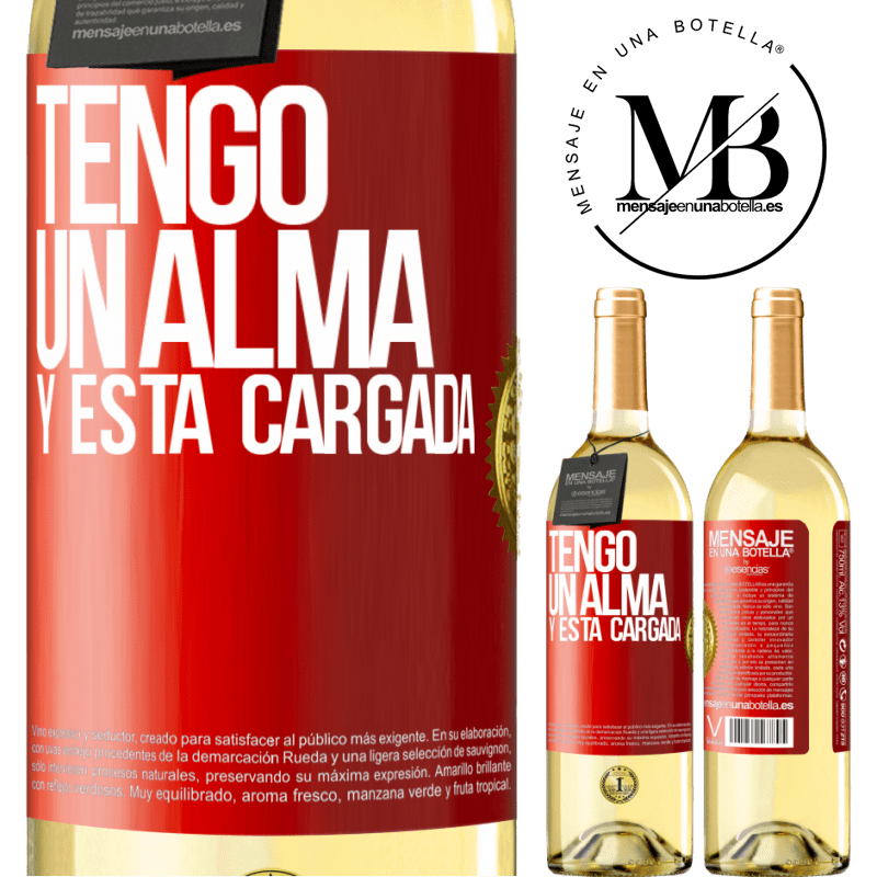 24,95 € Free Shipping | White Wine WHITE Edition Tengo un alma y está cargada Red Label. Customizable label Young wine Harvest 2020 Verdejo