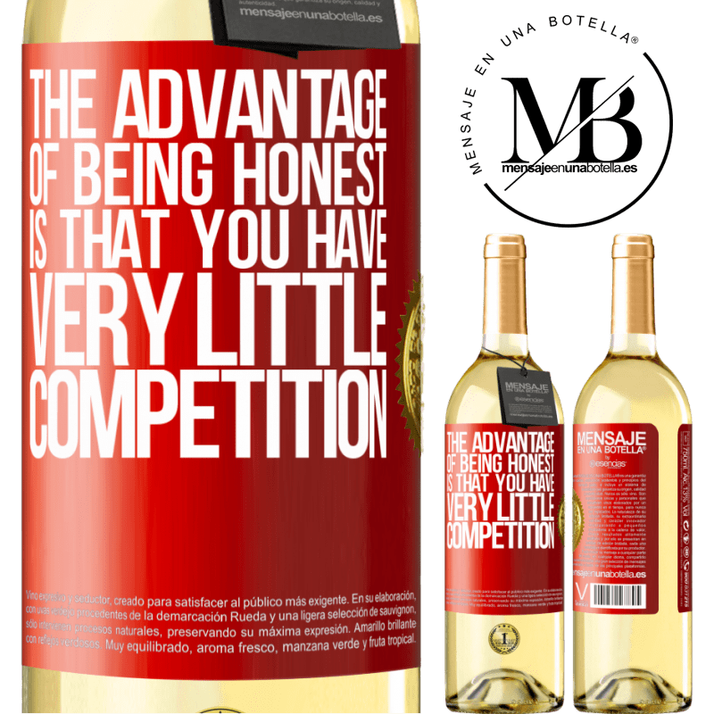 24,95 € Free Shipping | White Wine WHITE Edition The advantage of being honest is that you have very little competition Red Label. Customizable label Young wine Harvest 2020 Verdejo