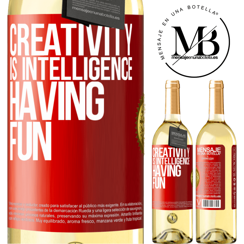 24,95 € Free Shipping   White Wine WHITE Edition Creativity is intelligence having fun Red Label. Customizable label Young wine Harvest 2020 Verdejo