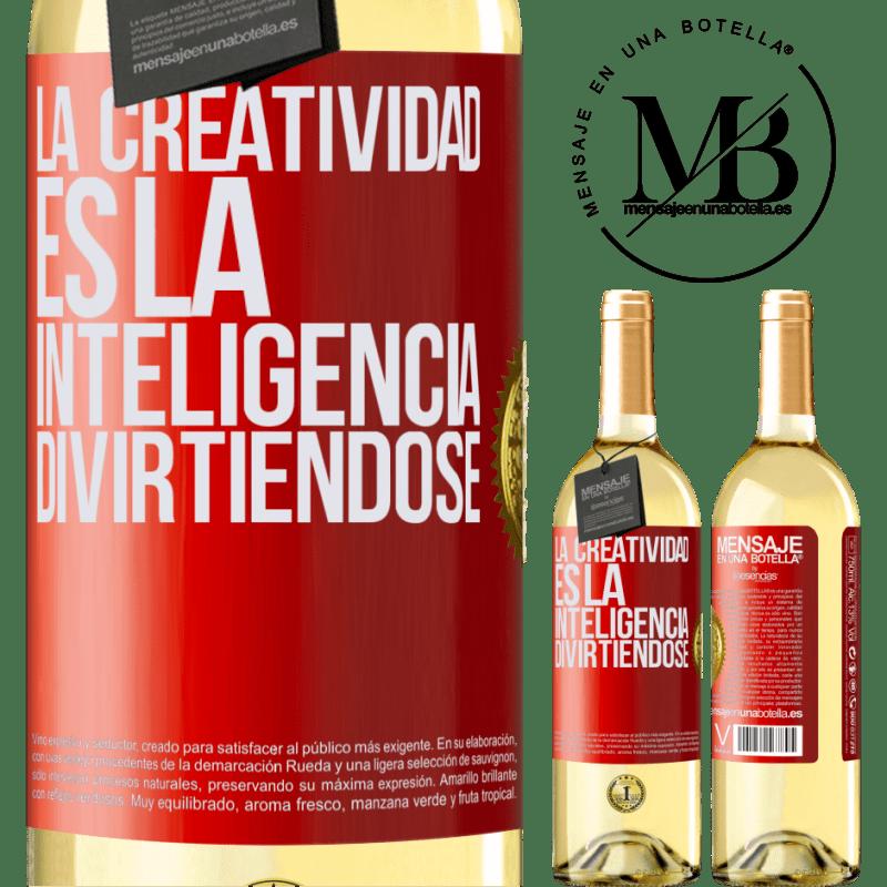 24,95 € Envoi gratuit   Vin blanc Édition WHITE La créativité, c'est l'intelligence qui s'amuse Étiquette Rouge. Étiquette personnalisable Vin jeune Récolte 2020 Verdejo