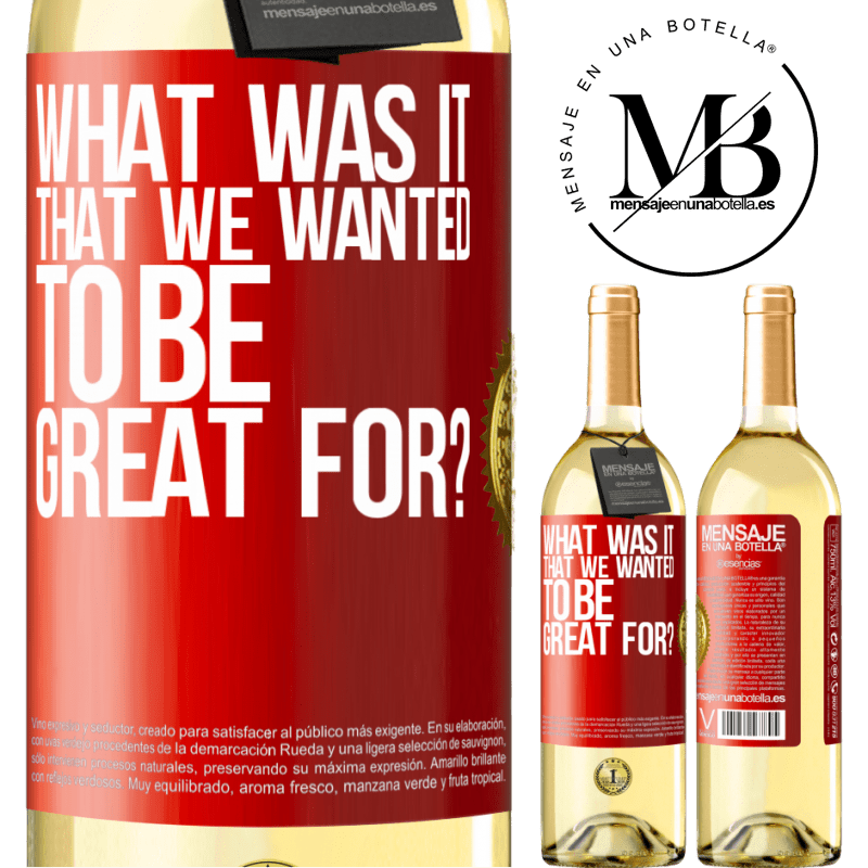 24,95 € Free Shipping | White Wine WHITE Edition what was it that we wanted to be great for? Red Label. Customizable label Young wine Harvest 2020 Verdejo