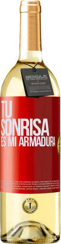 24,95 € Envío gratis | Vino Blanco Edición WHITE Tu sonrisa es mi armadura Etiqueta Roja. Etiqueta personalizable Vino joven Cosecha 2020 Verdejo