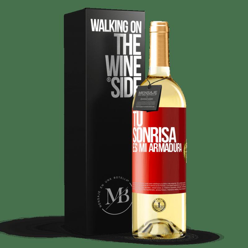 24,95 € Envoi gratuit | Vin blanc Édition WHITE Ton sourire est mon armure Étiquette Rouge. Étiquette personnalisable Vin jeune Récolte 2020 Verdejo