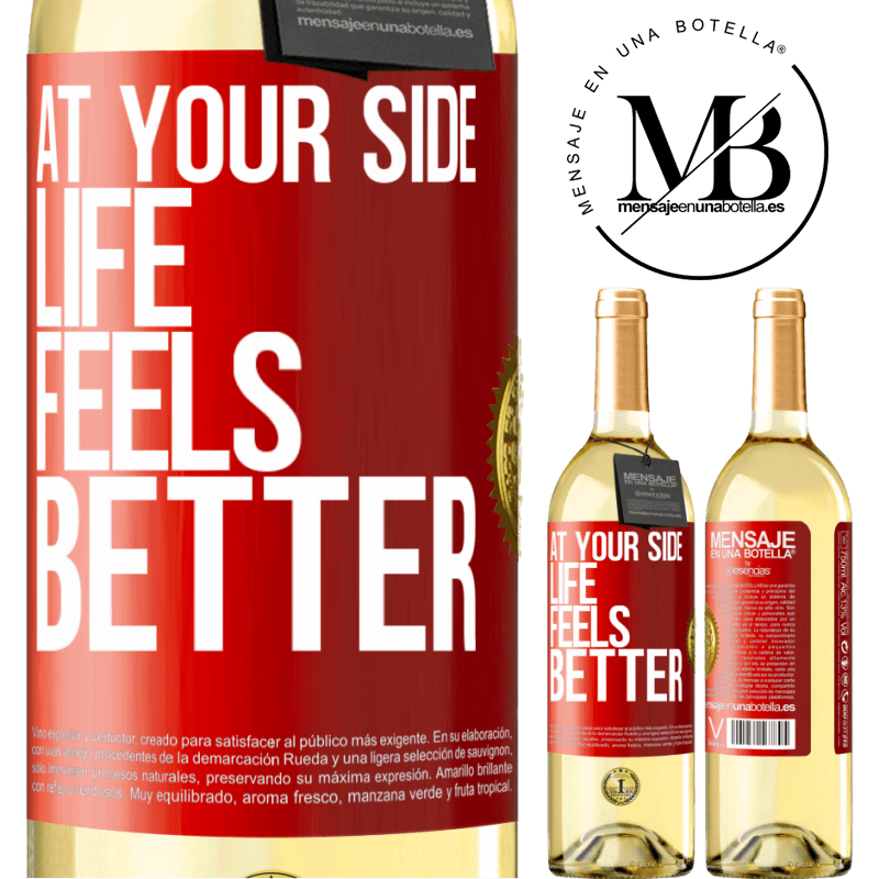 24,95 € Free Shipping | White Wine WHITE Edition At your side life feels better Red Label. Customizable label Young wine Harvest 2020 Verdejo