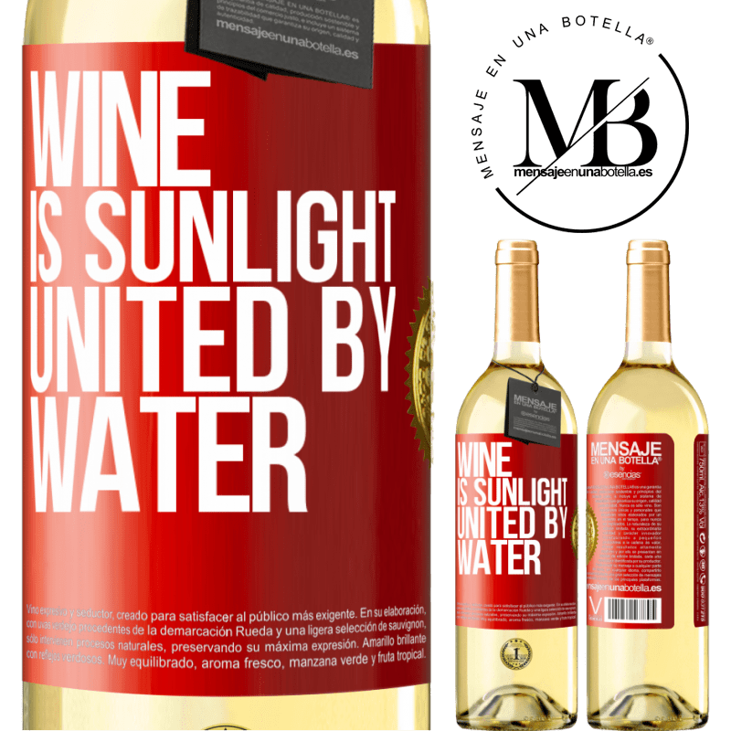 24,95 € Free Shipping | White Wine WHITE Edition Wine is sunlight, united by water Red Label. Customizable label Young wine Harvest 2020 Verdejo