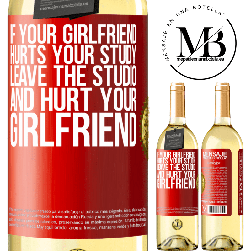 24,95 € Free Shipping | White Wine WHITE Edition If your girlfriend hurts your study, leave the studio and hurt your girlfriend Red Label. Customizable label Young wine Harvest 2020 Verdejo