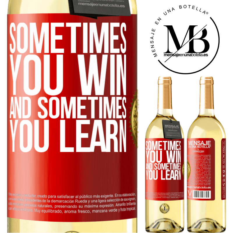 24,95 € Free Shipping | White Wine WHITE Edition Sometimes you win, and sometimes you learn Red Label. Customizable label Young wine Harvest 2020 Verdejo