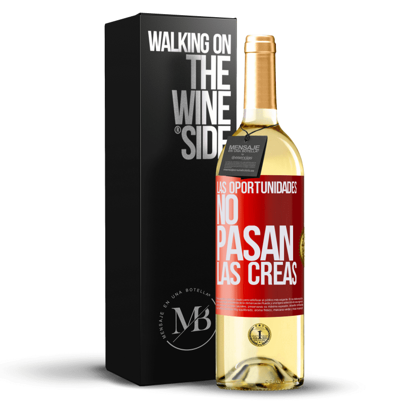 24,95 € Envoi gratuit | Vin blanc Édition WHITE Les opportunités ne passent pas. Vous les créez Étiquette Rouge. Étiquette personnalisable Vin jeune Récolte 2020 Verdejo