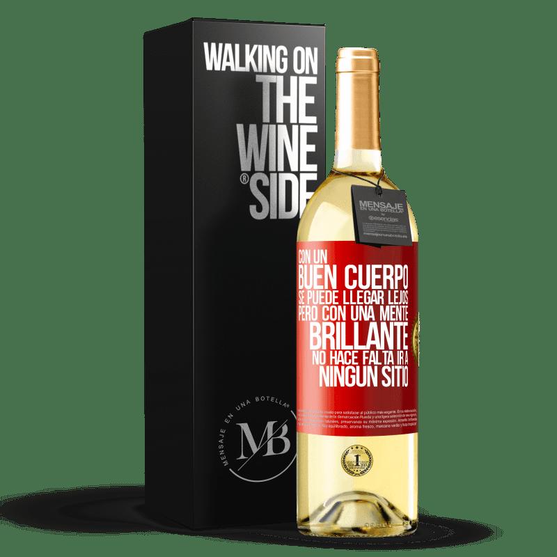 24,95 € Envoi gratuit   Vin blanc Édition WHITE Avec un bon corps, vous pouvez aller loin, mais avec un esprit brillant, vous n'avez pas besoin d'aller nulle part Étiquette Rouge. Étiquette personnalisable Vin jeune Récolte 2020 Verdejo