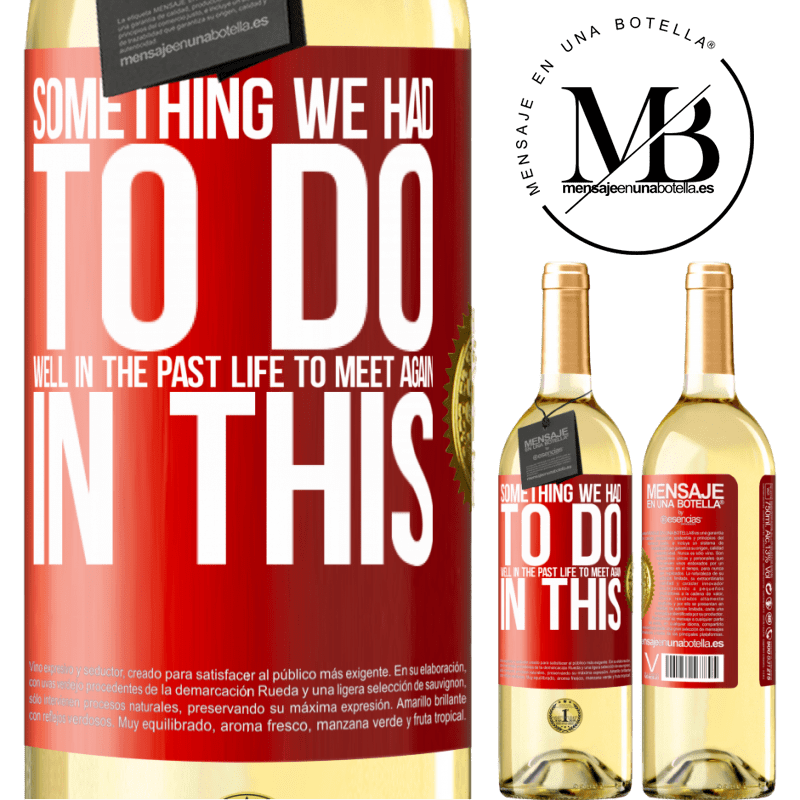 24,95 € Free Shipping | White Wine WHITE Edition Something we had to do well in the next life to meet again in this Red Label. Customizable label Young wine Harvest 2020 Verdejo