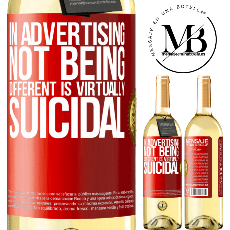 24,95 € Free Shipping   White Wine WHITE Edition In advertising, not being different is virtually suicidal Red Label. Customizable label Young wine Harvest 2020 Verdejo