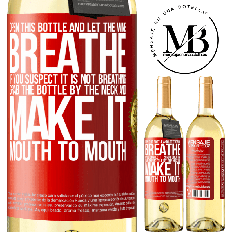 24,95 € Free Shipping   White Wine WHITE Edition Open this bottle and let the wine breathe. If you suspect you are not breathing, grab the bottle by the neck and make it Red Label. Customizable label Young wine Harvest 2020 Verdejo