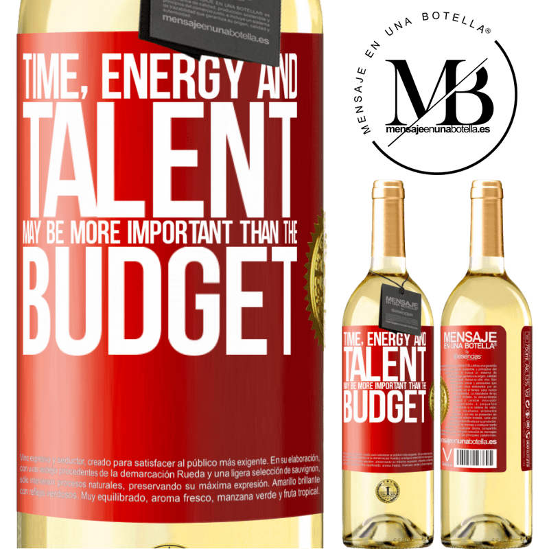 24,95 € Free Shipping | White Wine WHITE Edition Time, energy and talent may be more important than the budget Red Label. Customizable label Young wine Harvest 2020 Verdejo