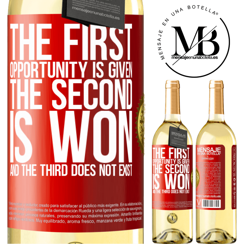 24,95 € Free Shipping   White Wine WHITE Edition The first opportunity is given, the second is won, and the third does not exist Red Label. Customizable label Young wine Harvest 2020 Verdejo