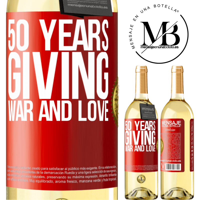 24,95 € Free Shipping | White Wine WHITE Edition 50 years giving war and love Red Label. Customizable label Young wine Harvest 2020 Verdejo