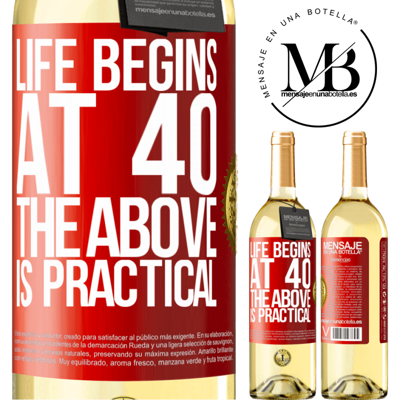 24,95 € Free Shipping | White Wine WHITE Edition Life begins at 40. The above is practical Red Label. Customizable label Young wine Harvest 2020 Verdejo