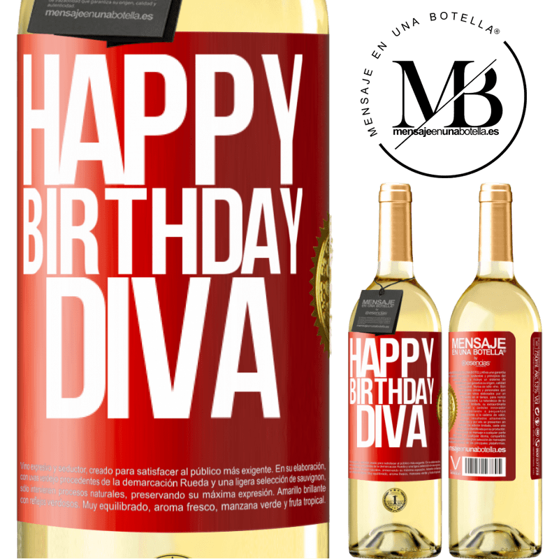 24,95 € Free Shipping | White Wine WHITE Edition Happy birthday Diva Red Label. Customizable label Young wine Harvest 2020 Verdejo