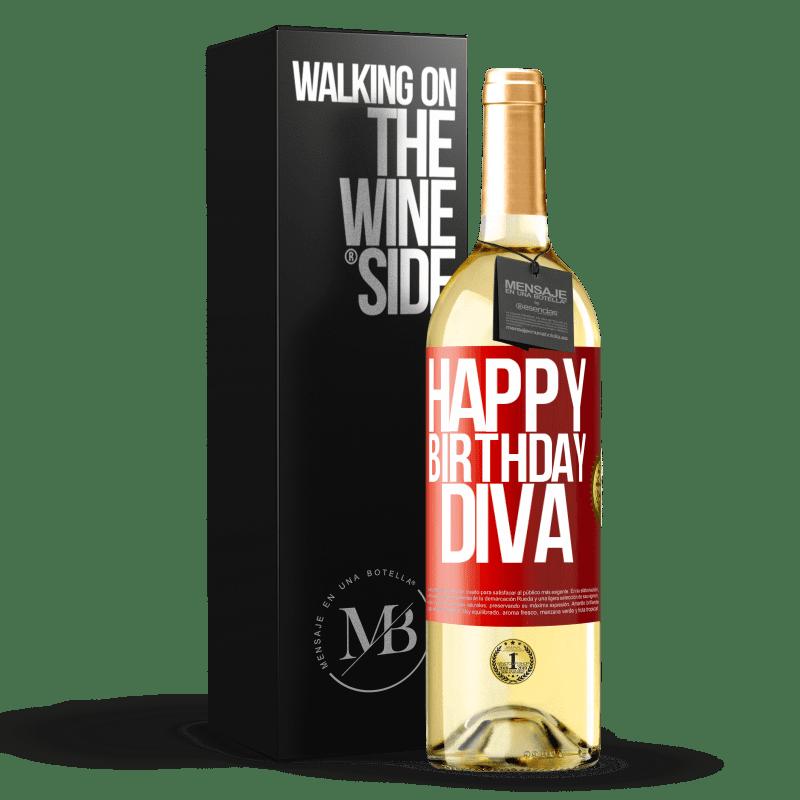 24,95 € Envío gratis | Vino Blanco Edición WHITE Happy birthday Diva Etiqueta Roja. Etiqueta personalizable Vino joven Cosecha 2020 Verdejo