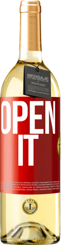 24,95 € Free Shipping | White Wine WHITE Edition Open it Red Label. Customizable label Young wine Harvest 2020 Verdejo