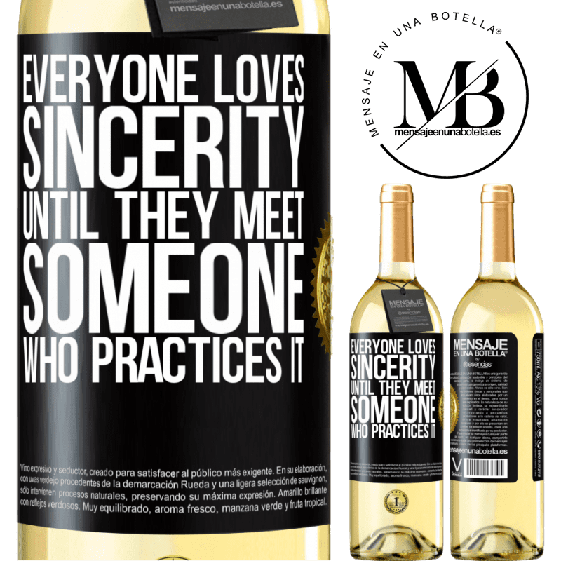24,95 € Free Shipping | White Wine WHITE Edition Everyone loves sincerity. Until they meet someone who practices it Black Label. Customizable label Young wine Harvest 2020 Verdejo