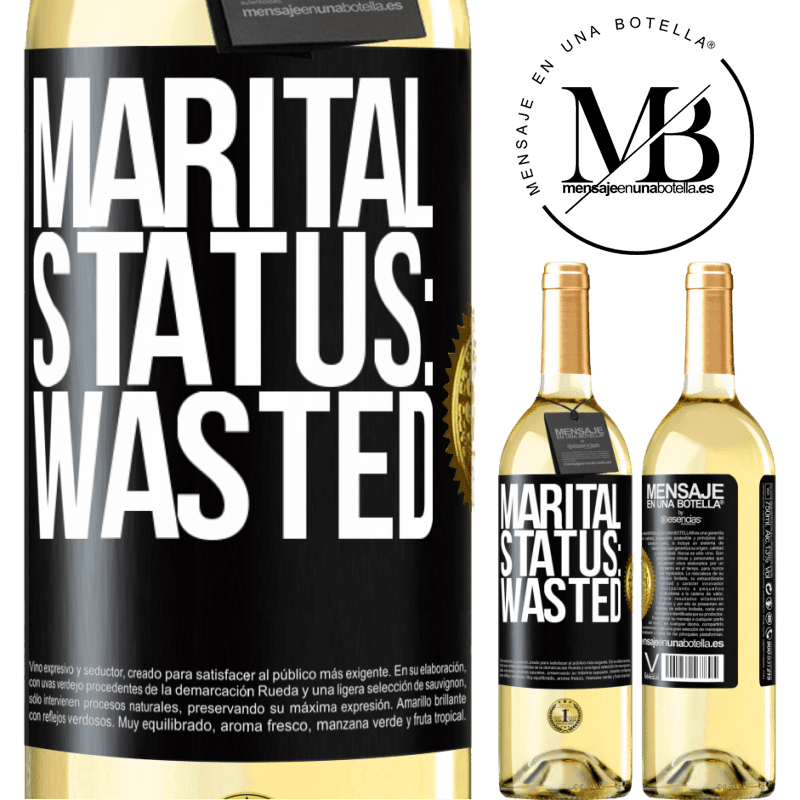 24,95 € Free Shipping   White Wine WHITE Edition Marital status: wasted Black Label. Customizable label Young wine Harvest 2020 Verdejo