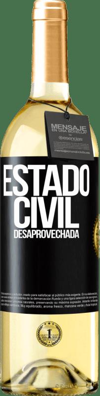 24,95 € Envío gratis | Vino Blanco Edición WHITE Estado civil: desaprovechada Etiqueta Negra. Etiqueta personalizable Vino joven Cosecha 2020 Verdejo