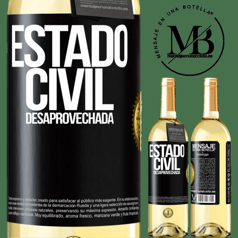 24,95 € Envoi gratuit | Vin blanc Édition WHITE État matrimonial: gaspillé Étiquette Noire. Étiquette personnalisable Vin jeune Récolte 2020 Verdejo