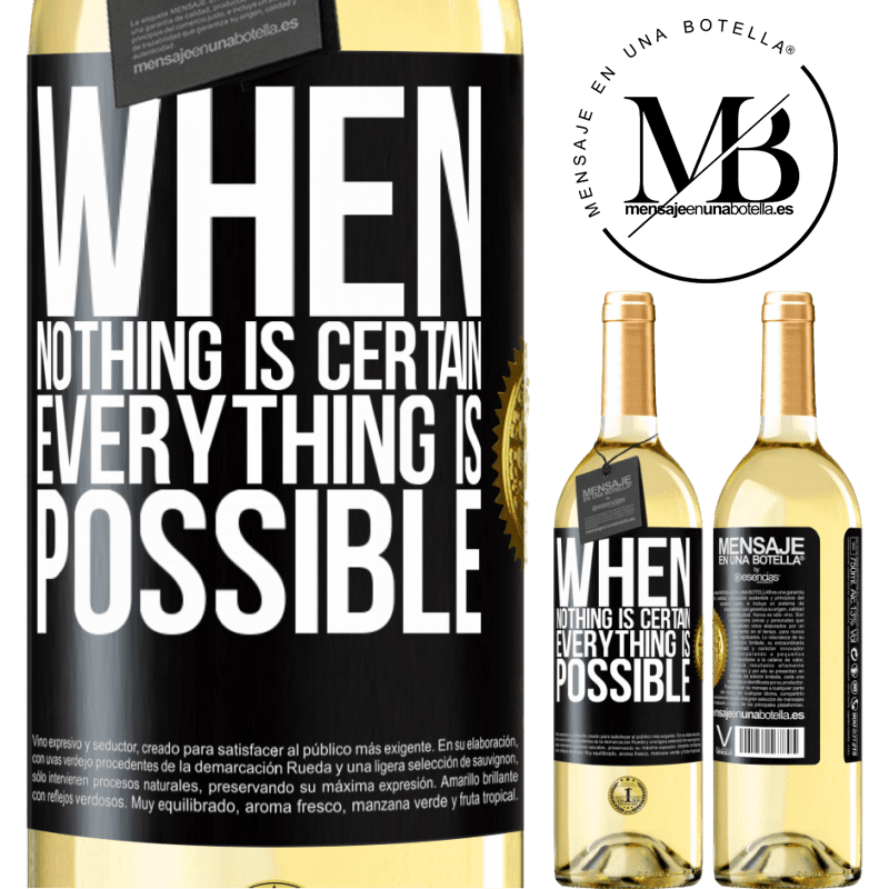 24,95 € Free Shipping | White Wine WHITE Edition When nothing is certain, everything is possible Black Label. Customizable label Young wine Harvest 2020 Verdejo
