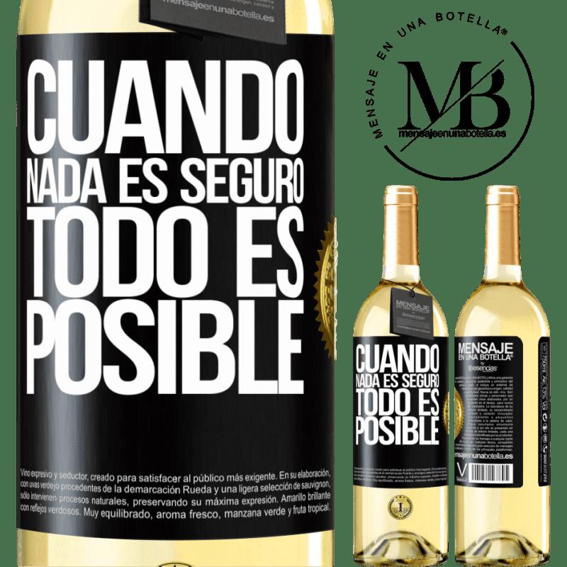24,95 € Envío gratis | Vino Blanco Edición WHITE Cuando nada es seguro, todo es posible Etiqueta Negra. Etiqueta personalizable Vino joven Cosecha 2020 Verdejo