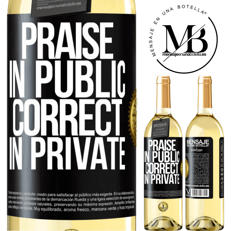24,95 € Free Shipping | White Wine WHITE Edition Praise in public, correct in private Black Label. Customizable label Young wine Harvest 2020 Verdejo