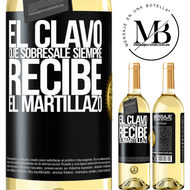 24,95 € Envoi gratuit | Vin blanc Édition WHITE Le clou en saillie reçoit toujours le martèlement Étiquette Noire. Étiquette personnalisable Vin jeune Récolte 2020 Verdejo