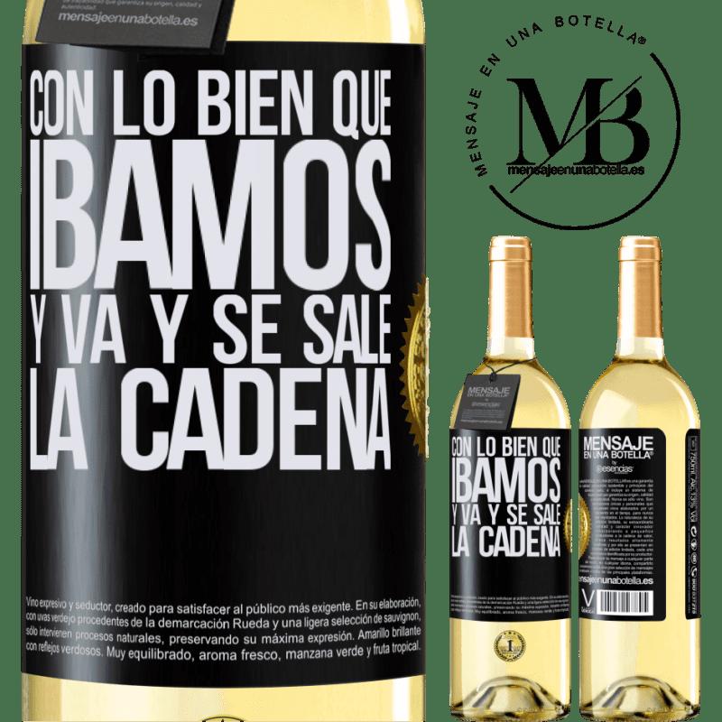 24,95 € Envoi gratuit | Vin blanc Édition WHITE Avec comment nous allions bien et la chaîne s'éteint Étiquette Noire. Étiquette personnalisable Vin jeune Récolte 2020 Verdejo