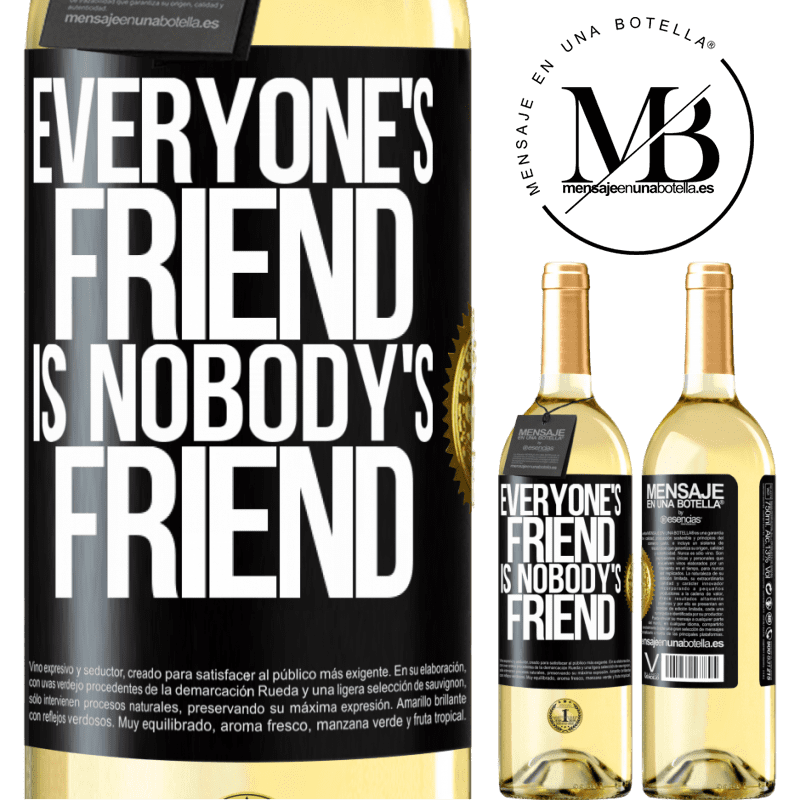 24,95 € Free Shipping | White Wine WHITE Edition Everyone's friend is nobody's friend Black Label. Customizable label Young wine Harvest 2020 Verdejo