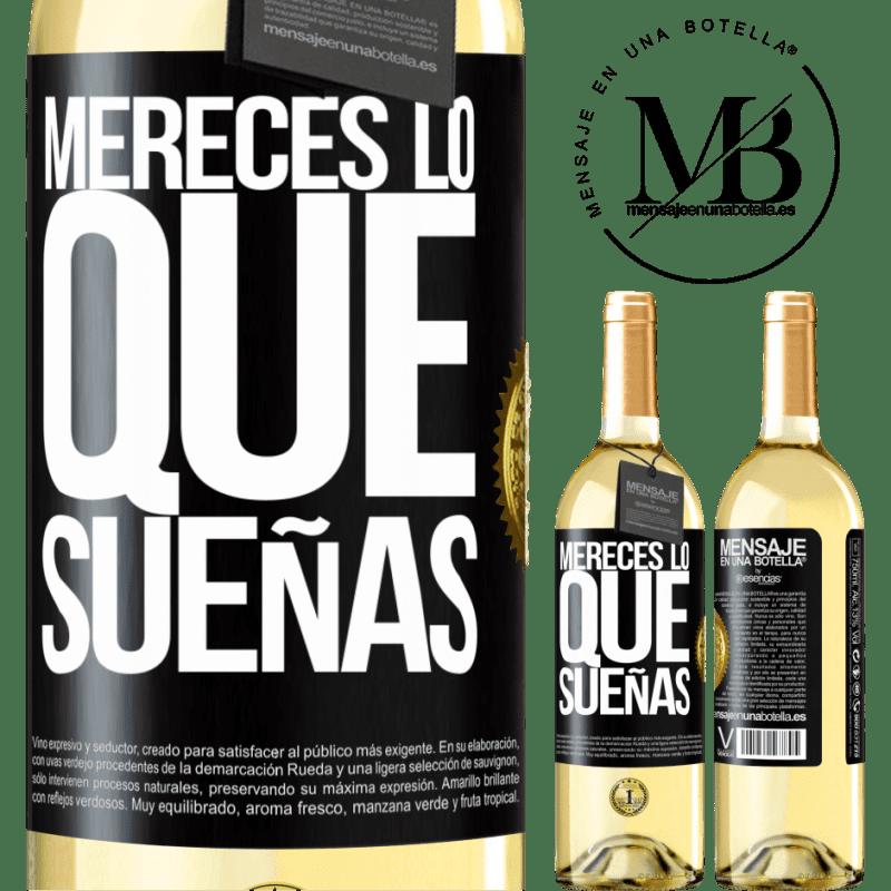 24,95 € Envío gratis   Vino Blanco Edición WHITE Mereces lo que sueñas Etiqueta Negra. Etiqueta personalizable Vino joven Cosecha 2020 Verdejo
