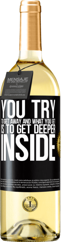 24,95 € Free Shipping | White Wine WHITE Edition You try to get away and what you get is to get deeper inside Black Label. Customizable label Young wine Harvest 2020 Verdejo