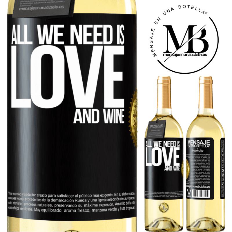 24,95 € Free Shipping   White Wine WHITE Edition All we need is love and wine Black Label. Customizable label Young wine Harvest 2020 Verdejo