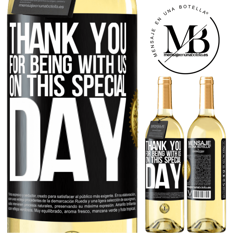 24,95 € Free Shipping   White Wine WHITE Edition Thank you for being with us on this special day Black Label. Customizable label Young wine Harvest 2020 Verdejo
