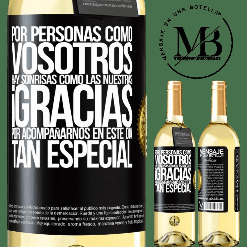 24,95 € Envío gratis | Vino Blanco Edición WHITE Gracias por estar junto a nosotros en este día tan especial Etiqueta Negra. Etiqueta personalizable Vino joven Cosecha 2020 Verdejo