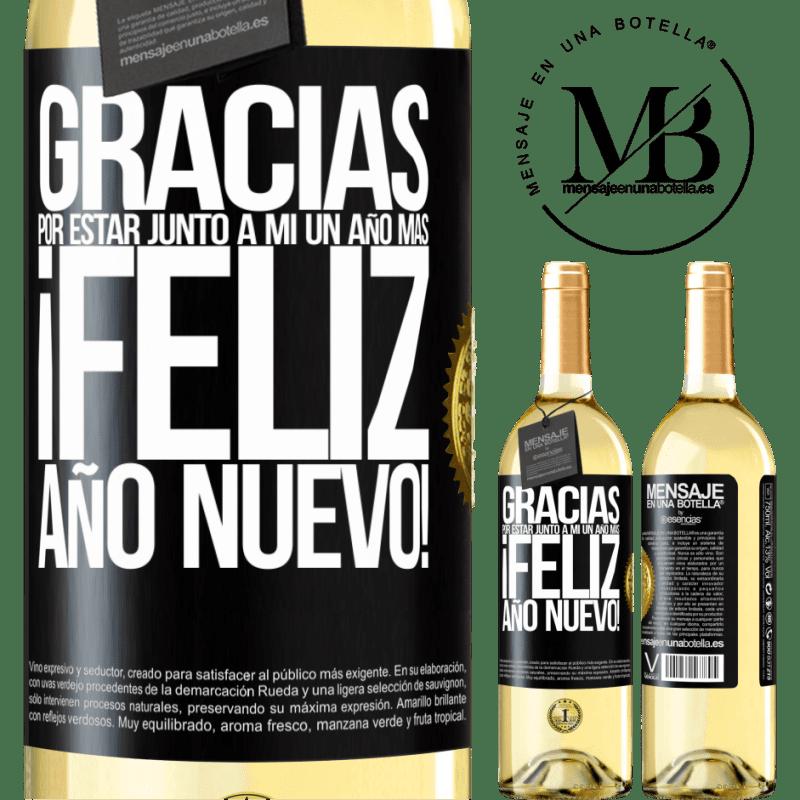 24,95 € Envío gratis | Vino Blanco Edición WHITE Gracias por estar junto a mí un año más. Feliz Año Nuevo! Etiqueta Negra. Etiqueta personalizable Vino joven Cosecha 2020 Verdejo